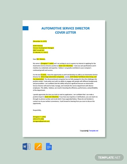 Free Automotive Service Director Cover Letter Template