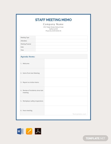 Free Staff Meeting Memo Template
