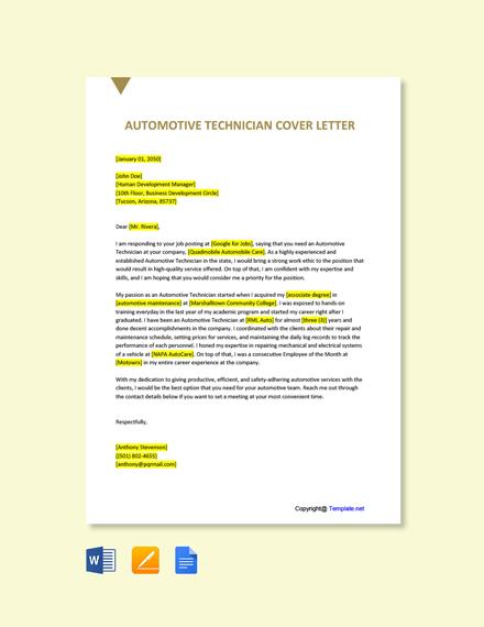 Free Automotive Technician Cover Letter Template