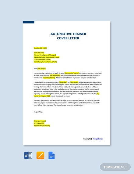 Free Automotive Trainer Cover Letter Template