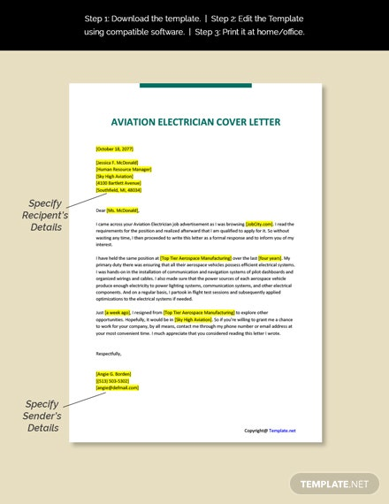 Aviation Electrician Cover Letter Template
