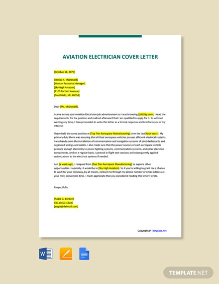 Free Aviation Electrician Cover Letter Template