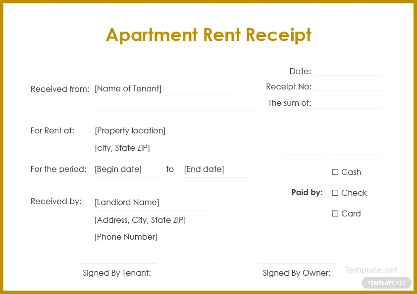 apartment rent receipt template in microsoft word