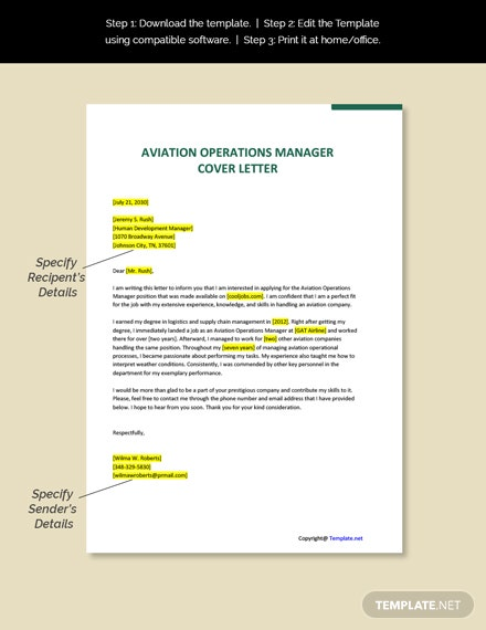 Aviation Operations Manager Cover Letter Template
