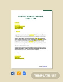 Free Aviation Operations Manager Cover Letter Template