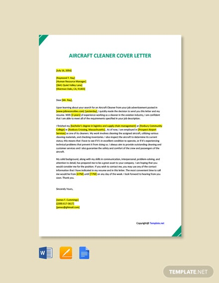 Free Aircraft Cleaner Cover Letter Template