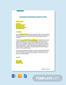 Free Cleaning Manager Cover Letter Template