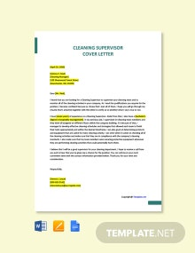 Free Cleaning Supervisor Cover Letter Template