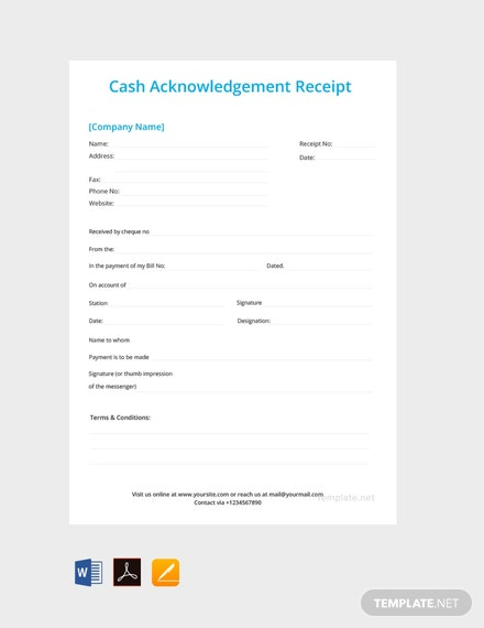 Free Cash Acknowledgement Receipt Template