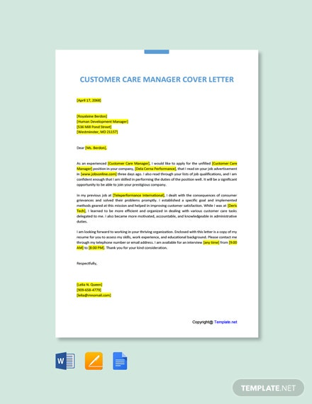 Free Customer Care Manager Cover Letter Template