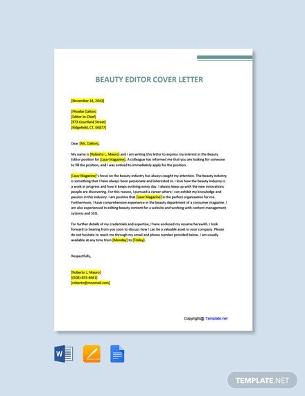 Free Beauty Editor Cover Letter Template