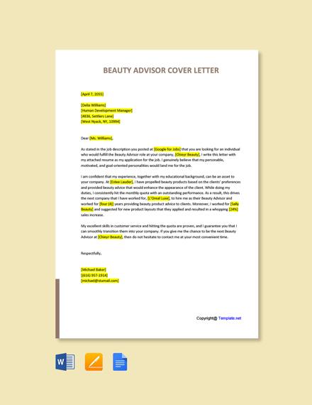 Free Beauty Advisor Cover Letter Template