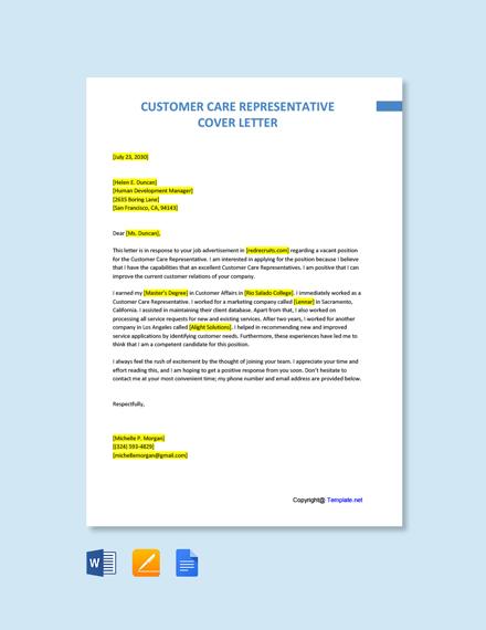 Free Customer Care Representative Cover Letter Template