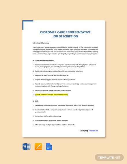 Free Customer Care Representative Job Description Template