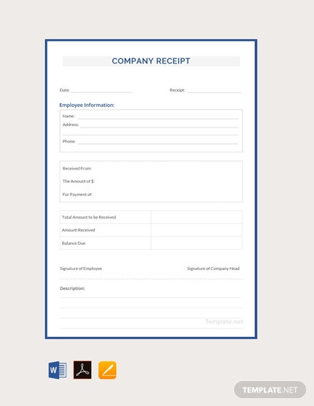 Free Company Receipt Template