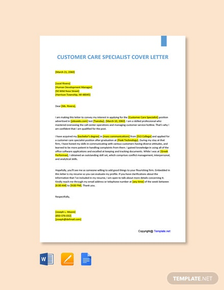 Free Customer Care Specialist Cover Letter Template