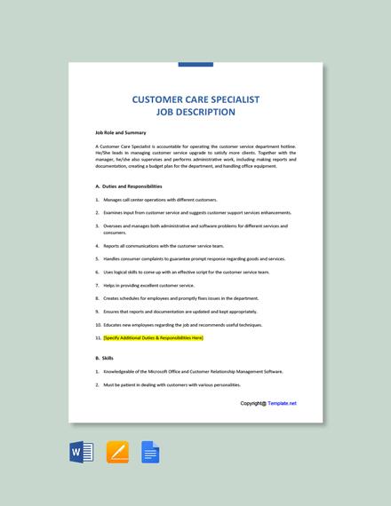 Free Customer Care Specialist Job Description Template