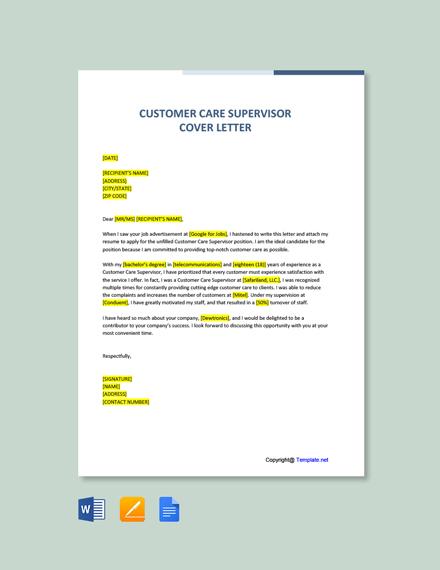 Free Customer Care Supervisor Cover Letter Template