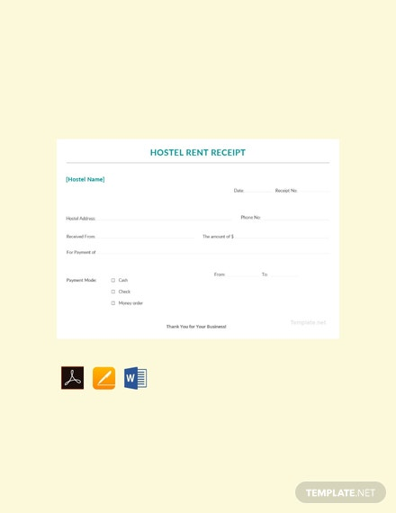 Free Sample Hostel Rent Receipt Template
