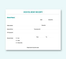 Sample Hostel Rent Receipt Template