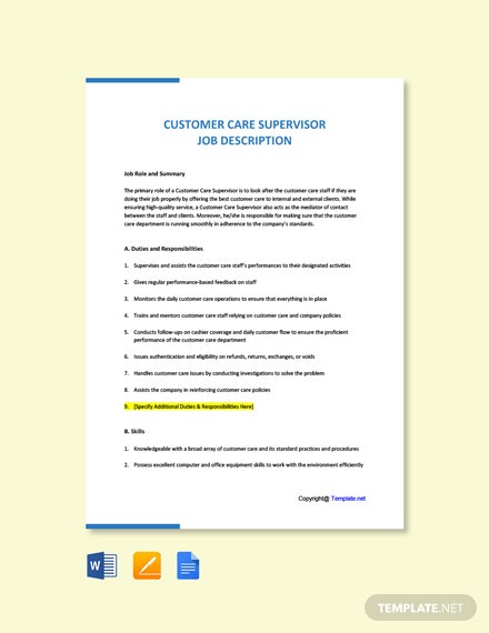 Free Customer Care Supervisor Job Description Template