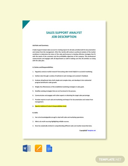 Sales Support Analyst Job Ad and Description Template