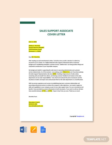 Free Sales Support Associate Cover Letter Template