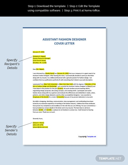 Free Assistant Fashion Designer Cover Letter Word Google Doc Apple Mac Pages Template Net