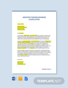 Free Assistant Fashion Designer Cover Letter Template