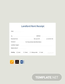 Free Sample Landlord Rent Receipt Template