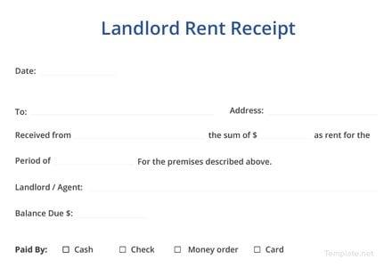 Landlord Rent Receipt Template