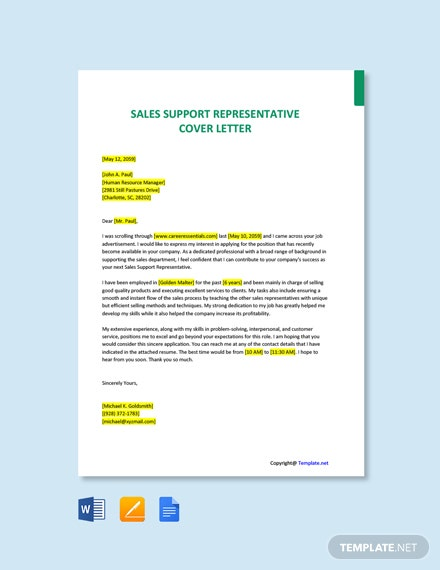 Free Sales Support Representative Cover Letter Template