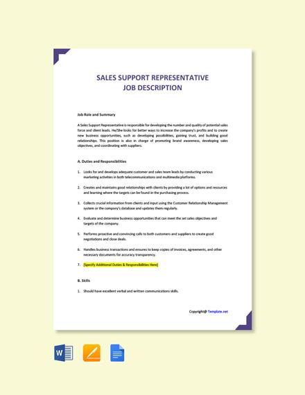Sales Support Representative Job Ad and Description Template