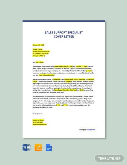 Free Sales Support Specialist Cover Letter Template