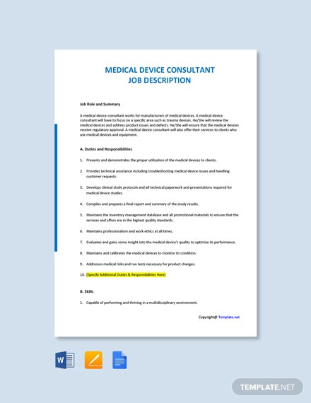 Free Medical Device Consultant Job Description Template