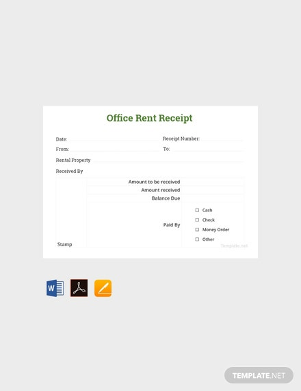 Free Office Rent Receipt Sample Template