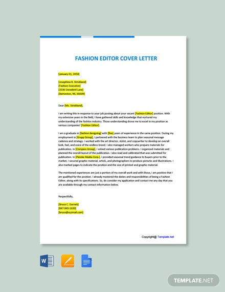 Free Fashion Editor Cover Letter Template