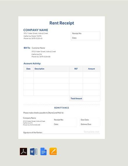 Free Rent Receipt Format