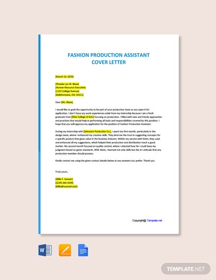 Fashion Production Assistant Cover Letter Template Free Pdf Google Docs Word Template Net