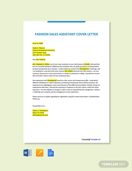 Free Fashion Sales Assistant Cover Letter Template