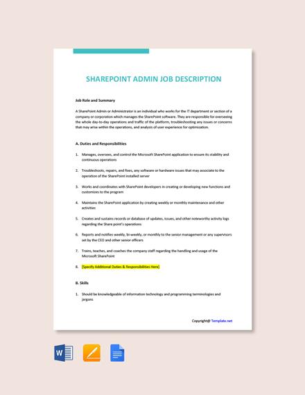 Free Sharepoint Admin Job Description Template