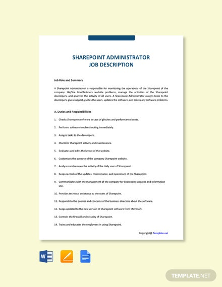 Free Sharepoint Administrator Job Ad and Description Template