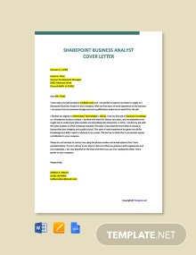 Free Sharepoint Business Analyst Cover Letter Template