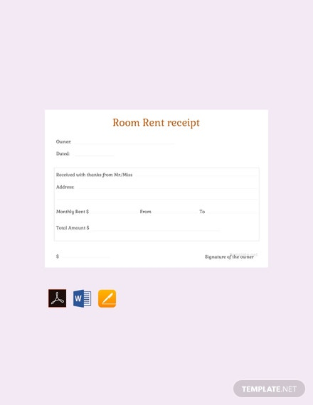 Free Monthly Room Rent Receipt Template