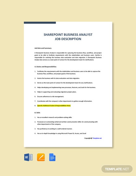 Free Sharepoint Business Analyst Job Ad and Description Template