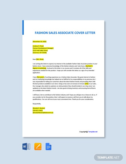 Free Fashion Sales Associate Cover Letter Template