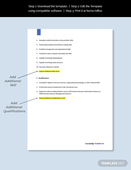 Agency Recruiter Job Description Template