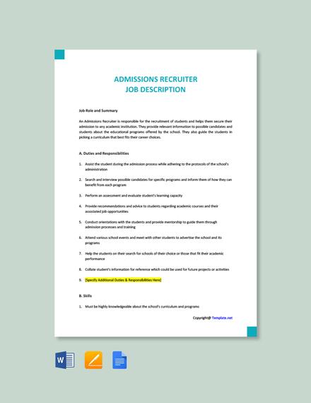 Free Admissions Recruiter Job Description Template