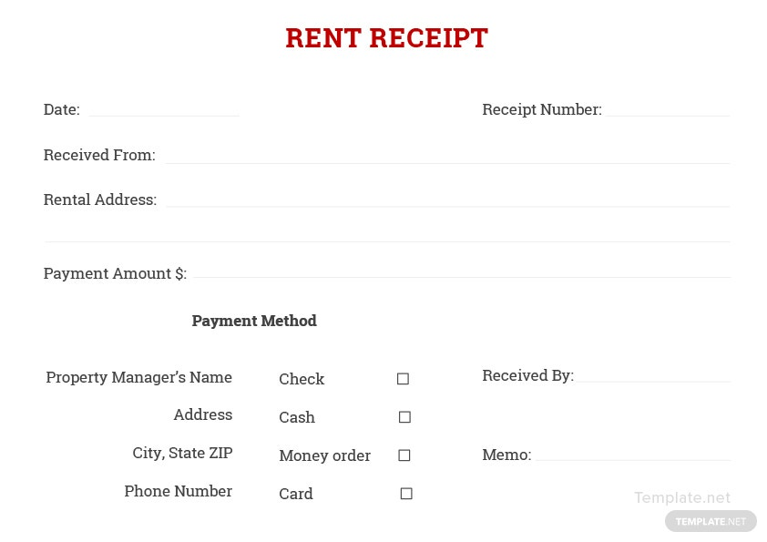 blank rent receipt