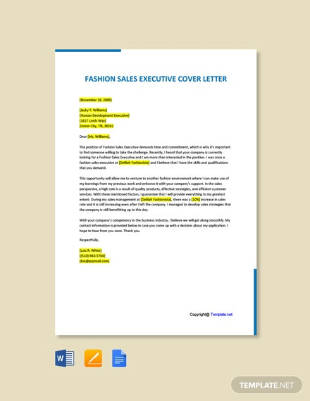 Free Fashion Sales Executive Cover Letter Template